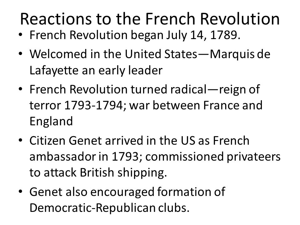 Reactions to the French Revolution