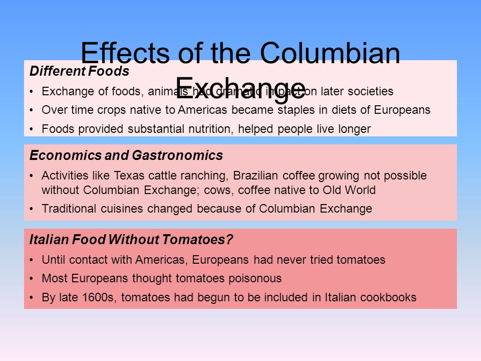 effects of columbian exchange essay example The effects of the columbian exchange it was the year 1492, and a man by the name of christopher columbus set sail from spain where he then landed in the present day americas, sparking one of the most important events in the world, the columbian exchange.
