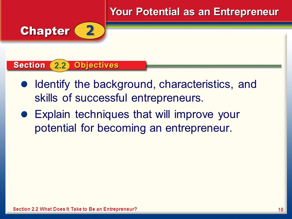 2.2 Identify the background, characteristics, and skills of successful entrepreneurs.