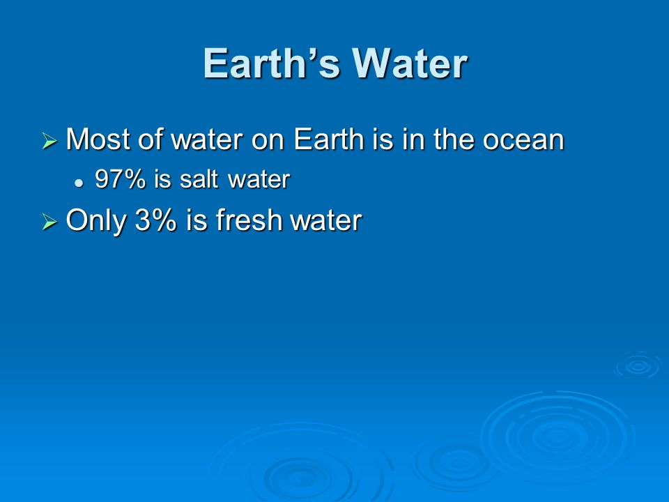 Earth's Water Most of water on Earth is in the ocean
