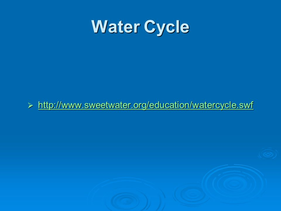 Water Cycle http://www.sweetwater.org/education/watercycle.swf