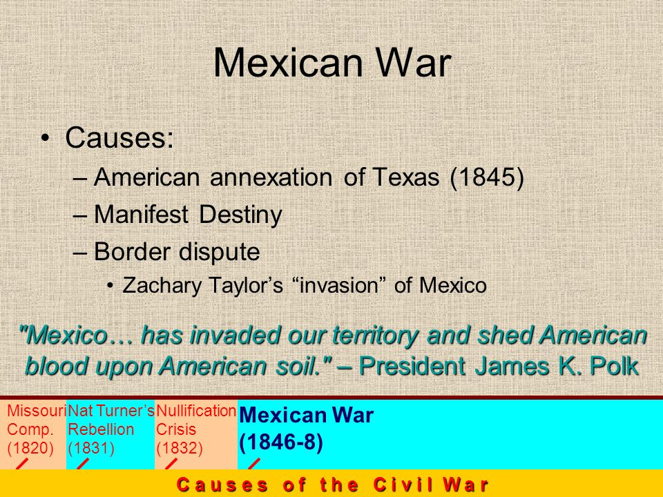 Mexican War Causes: American annexation of Texas (1845)