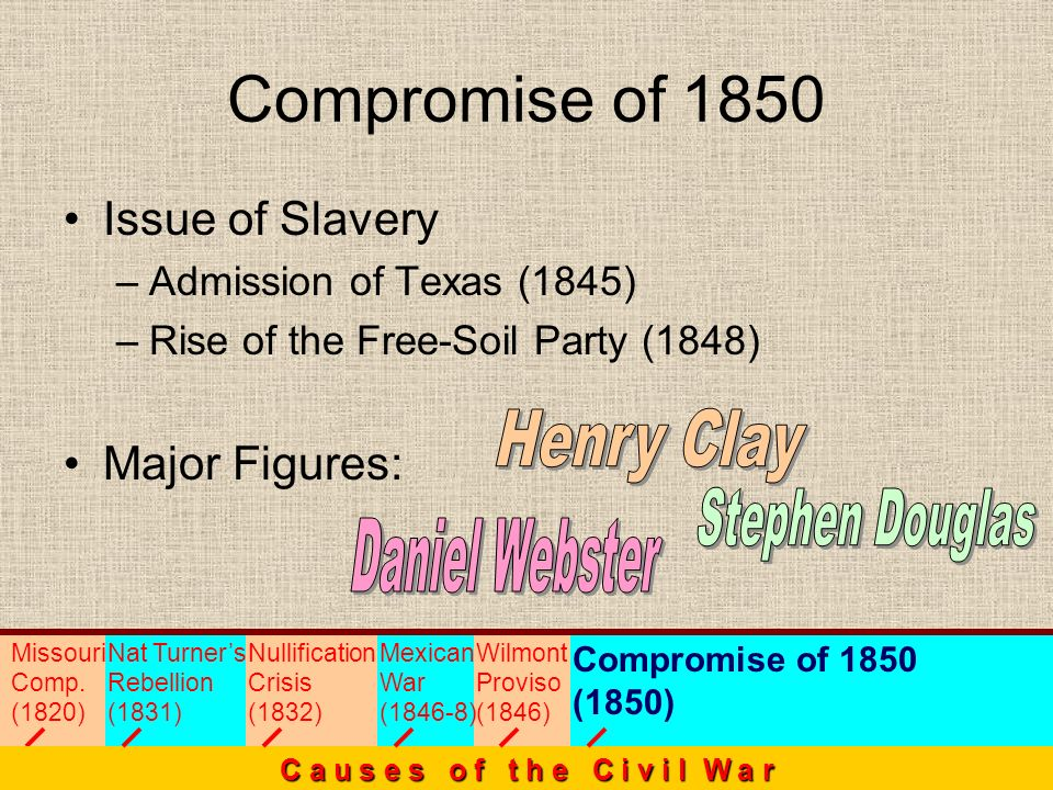 Compromise of 1850 Henry Clay Stephen Douglas Daniel Webster