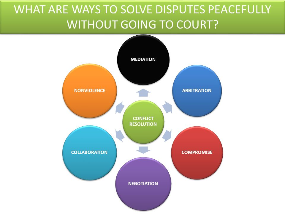 WHAT ARE WAYS TO SOLVE DISPUTES PEACEFULLY WITHOUT GOING TO COURT