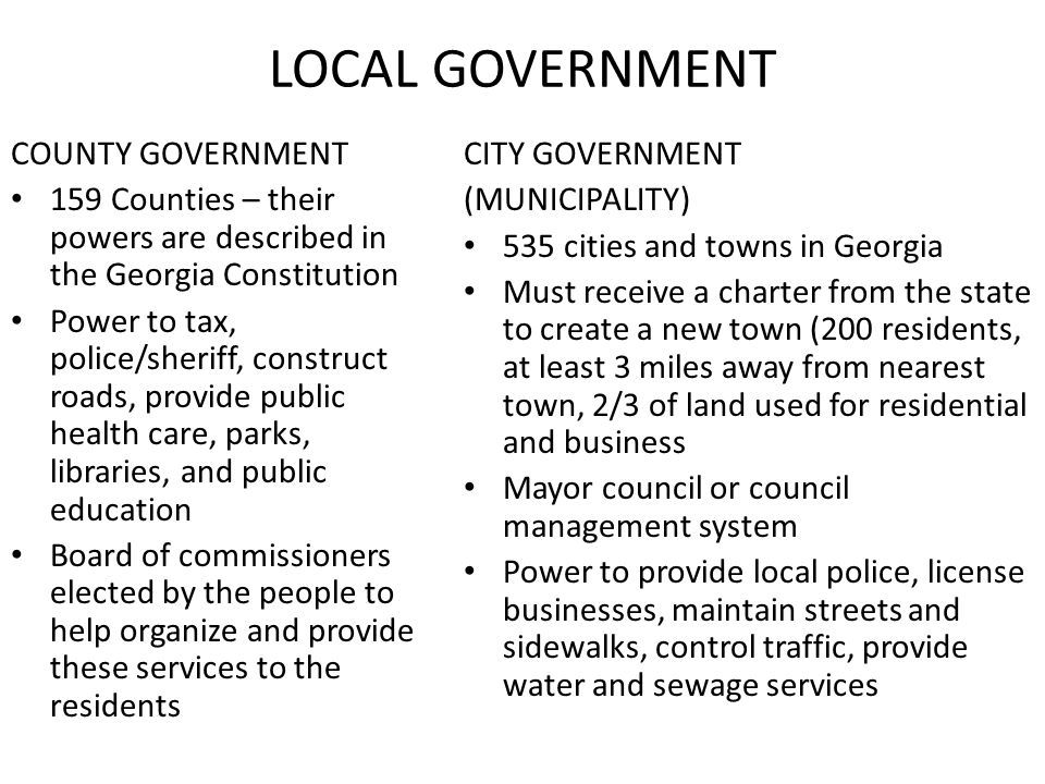 LOCAL GOVERNMENT COUNTY GOVERNMENT