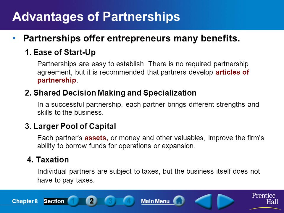 Advantages of Partnerships