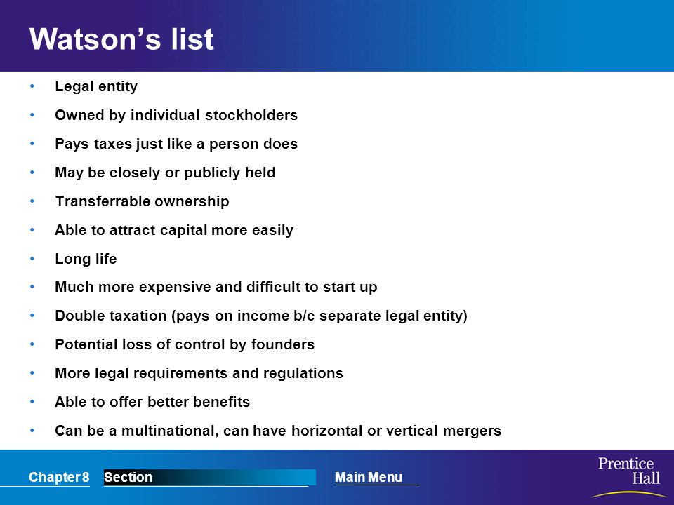 Watson's list Legal entity Owned by individual stockholders