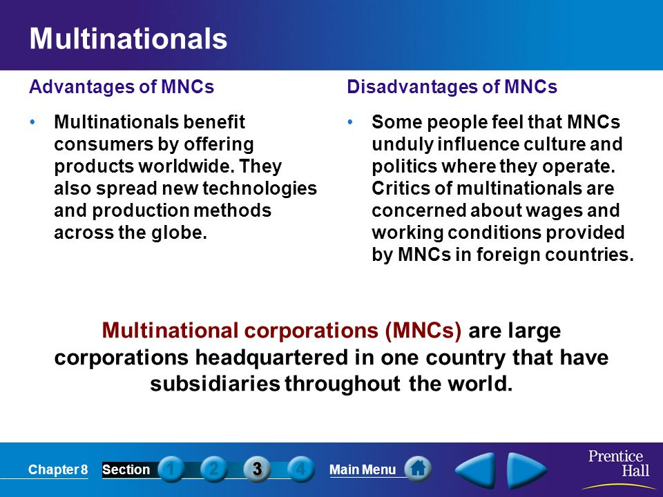 Multinationals Advantages of MNCs.