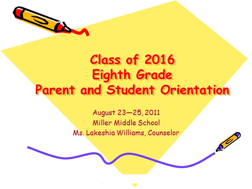 Class of 2016 Eighth Grade Parent and Student Orientation
