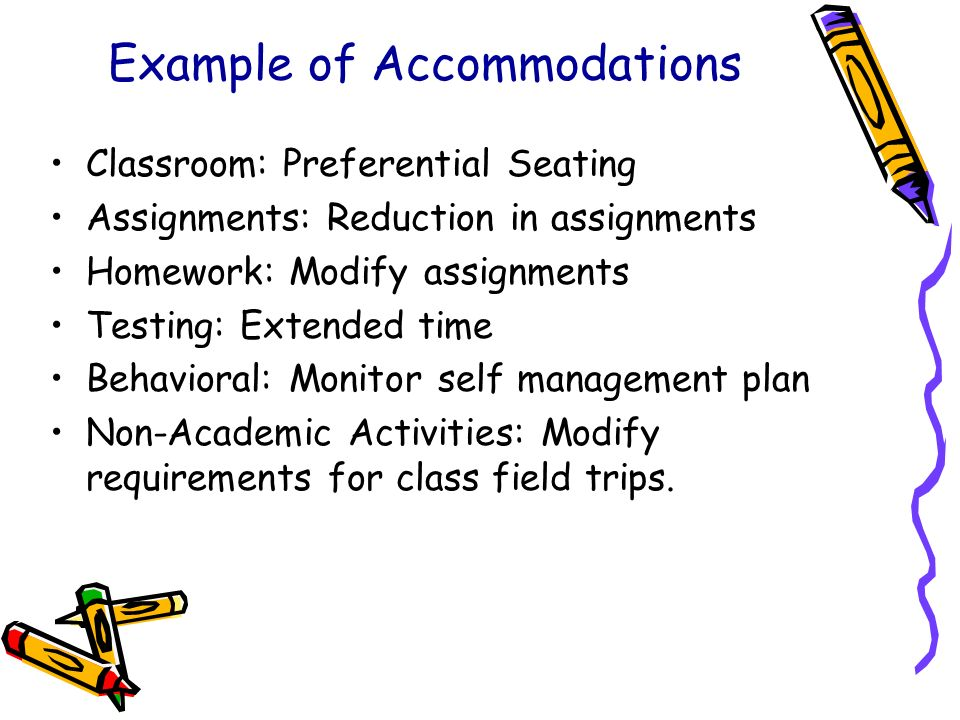 Example of Accommodations