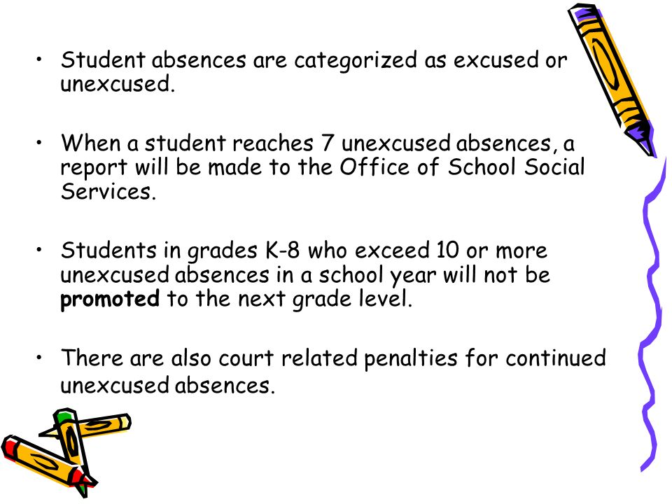 Student absences are categorized as excused or unexcused.