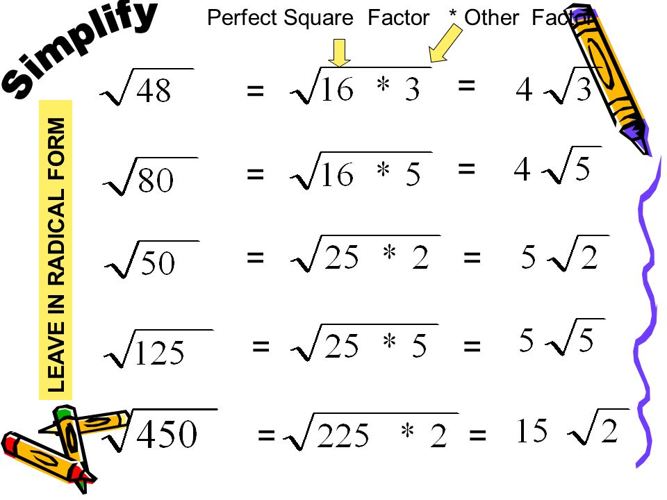 Radicals Are In Simplest Form When Ppt Download So let's say i have two times the square root of seven x times three times the square root of 14 but when you're trying to factor out perfect squares, it's actually easier if it's in this factored form here. radicals are in simplest form when