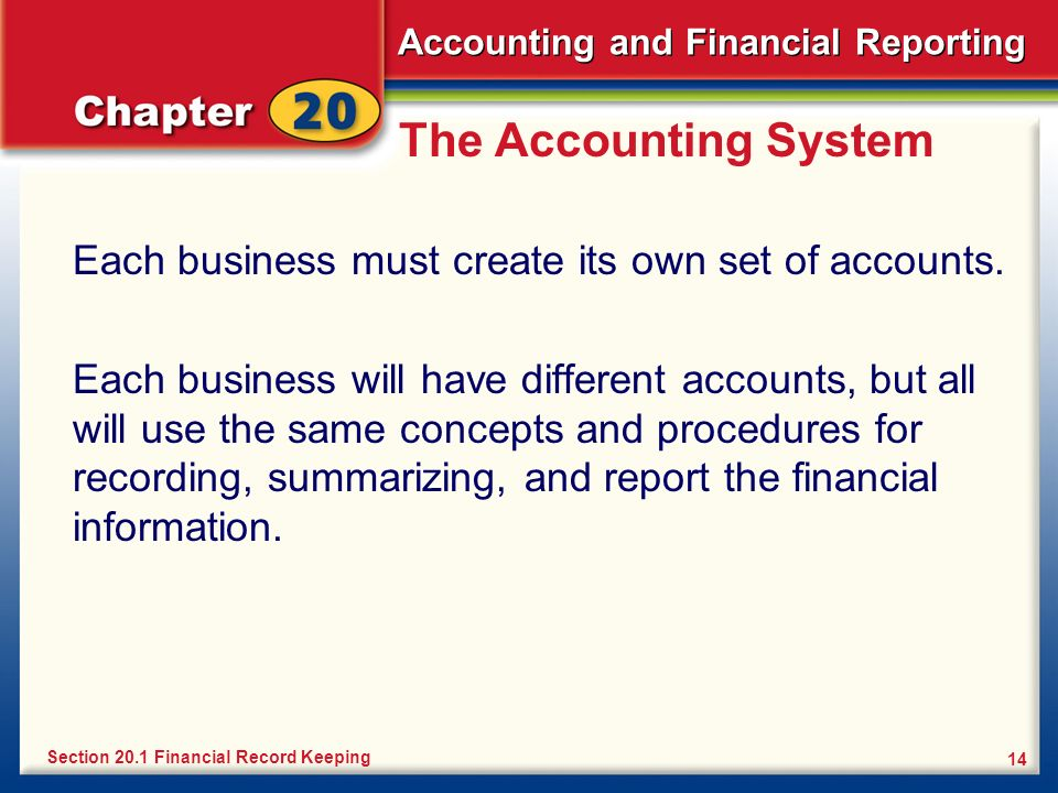 The Accounting System Each business must create its own set of accounts.