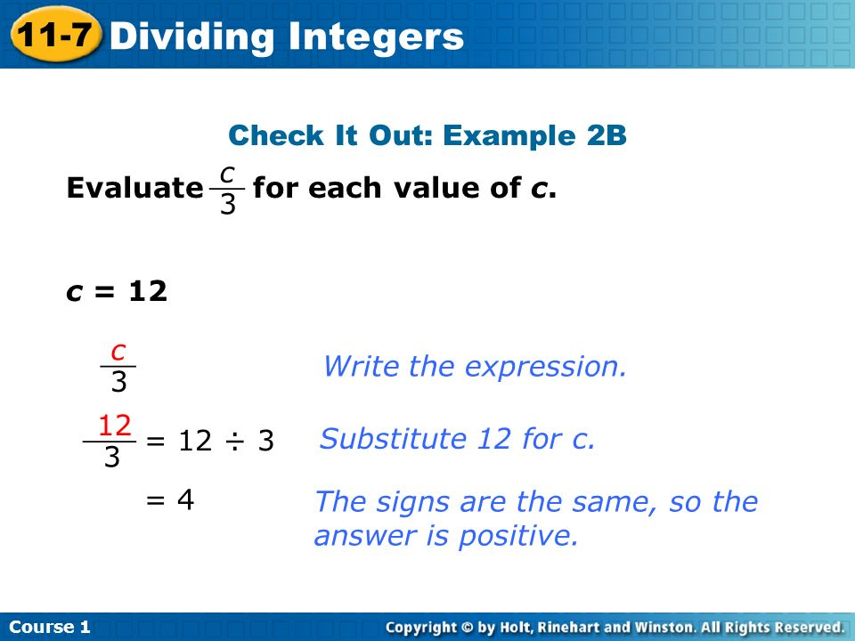Dividing Integers 11-7 Check It Out: Example 2B
