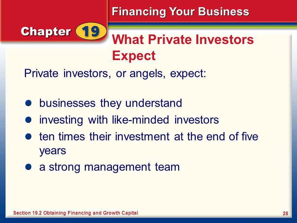 What Private Investors Expect