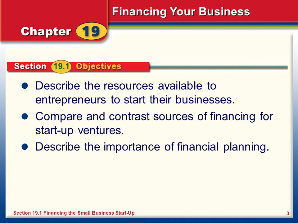 Compare and contrast sources of financing for start-up ventures.