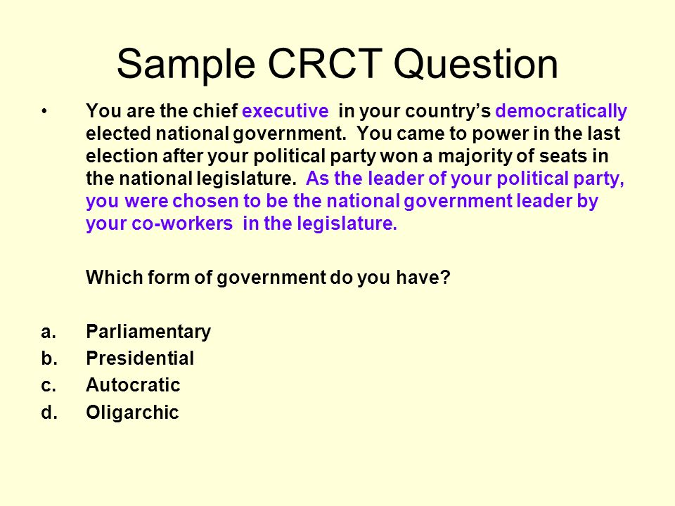 Sample CRCT Question