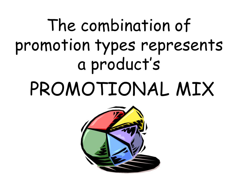 The combination of promotion types represents a product's