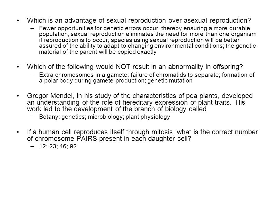 Sexual reproduction advantages over asexual spores