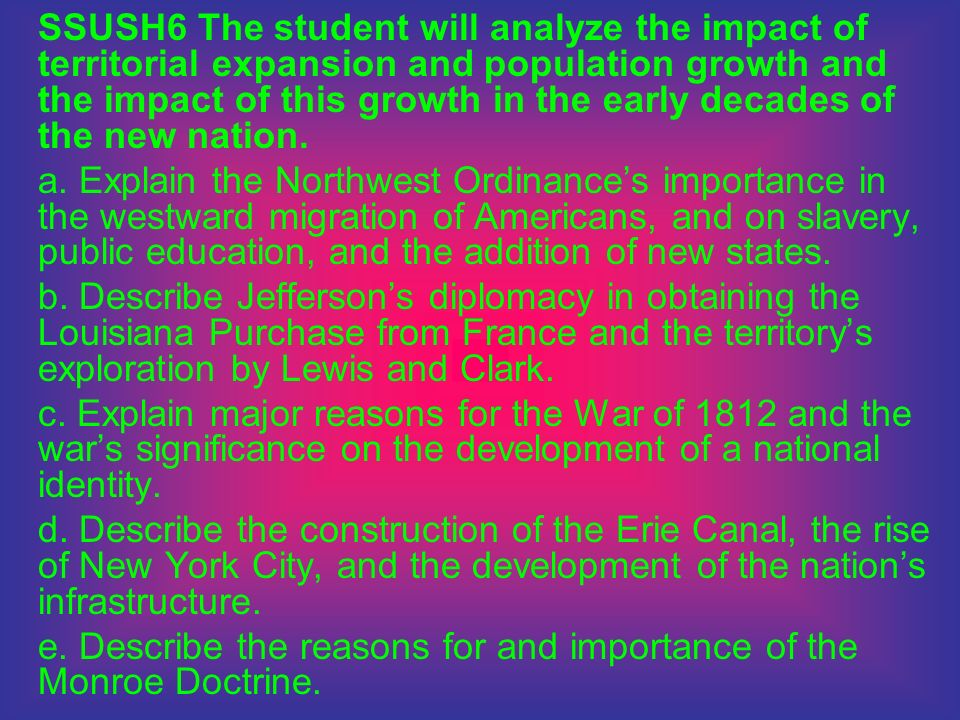 SSUSH6 The student will analyze the impact of territorial expansion and population growth and the impact of this growth in the early decades of the new nation.