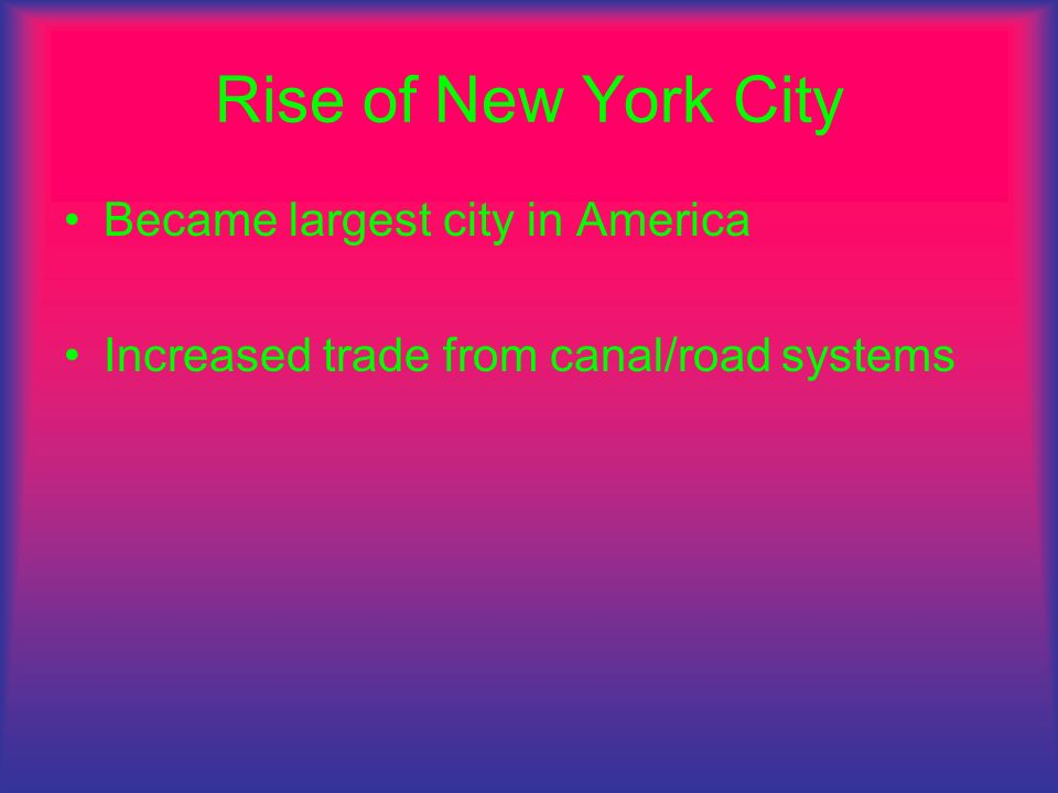 Rise of New York City Became largest city in America