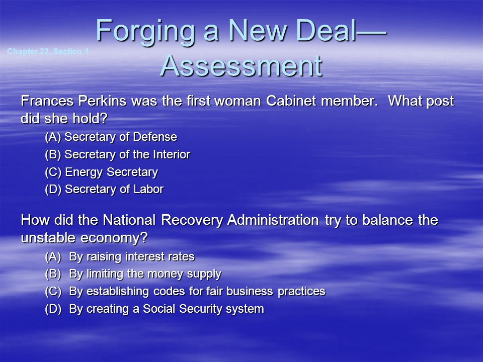 Forging a New Deal—Assessment
