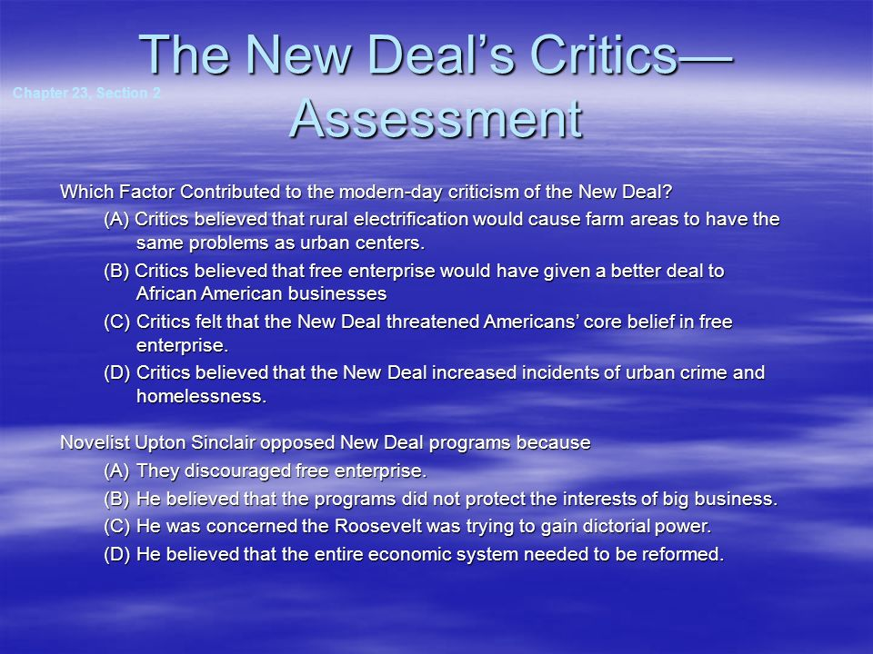 The New Deal's Critics—Assessment