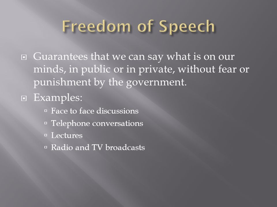 an analysis of freedom of speech and its punishments By franklin d roosevelt analysis by justin parry main idea supporting arguments no words were found that i was unfamiliar with franklin's style these things helped the us defend and present four international freedoms: freedom of speech and expression, freedom of religion, freedom from want.