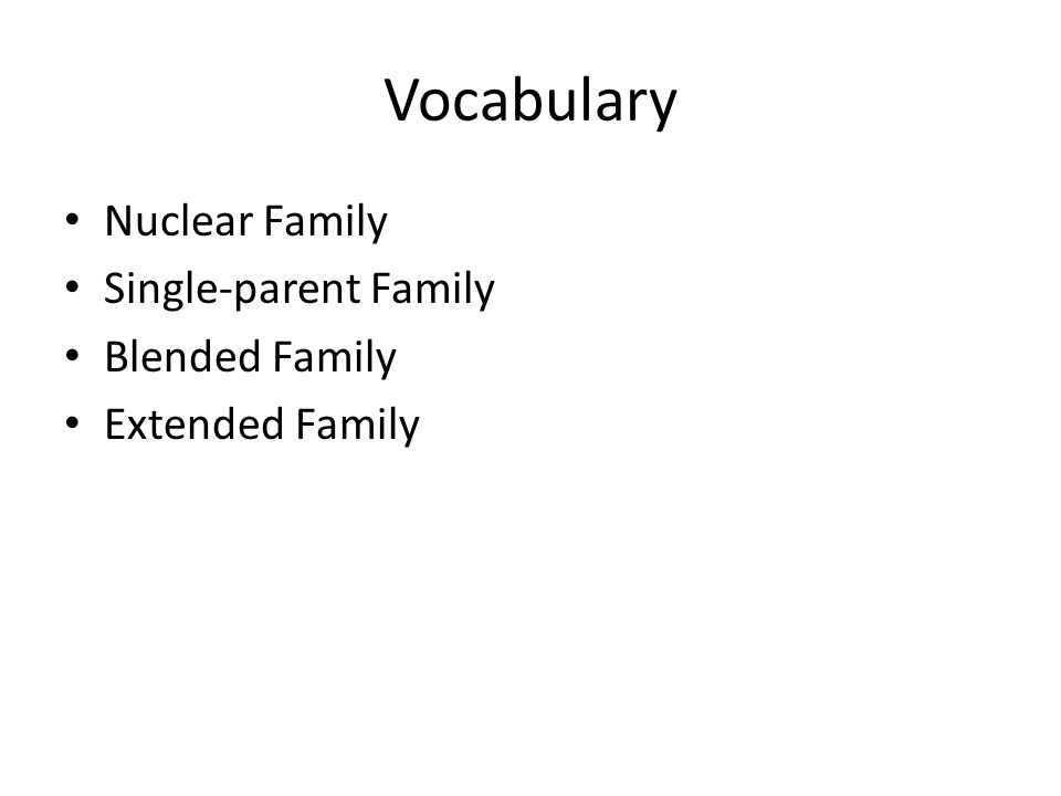 Vocabulary Nuclear Family Single-parent Family Blended Family