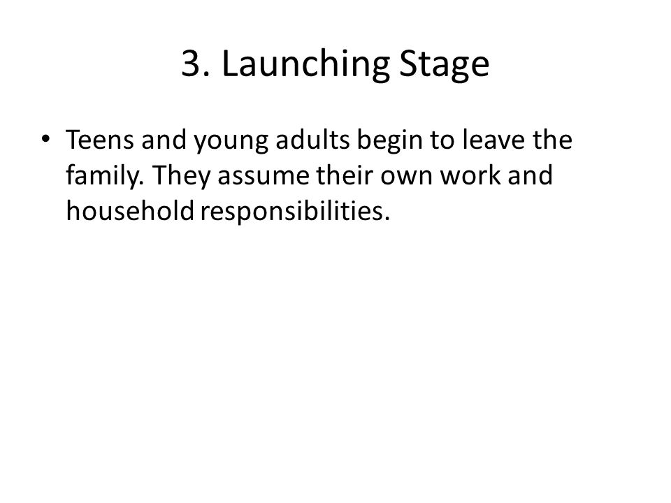 3. Launching Stage Teens and young adults begin to leave the family.