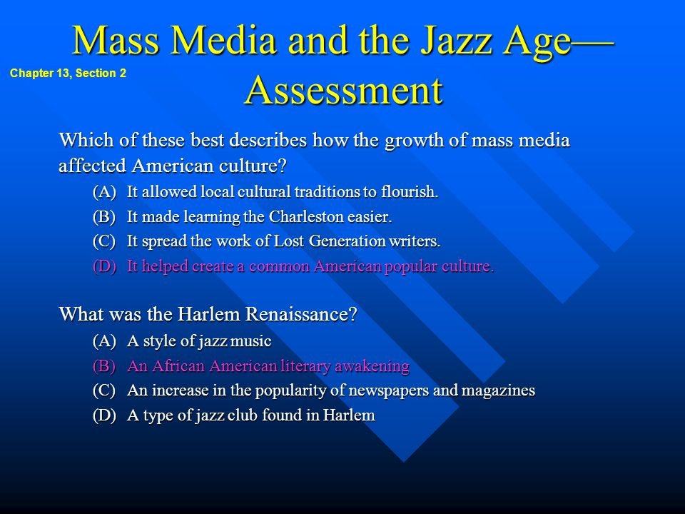 Mass Media and the Jazz Age—Assessment