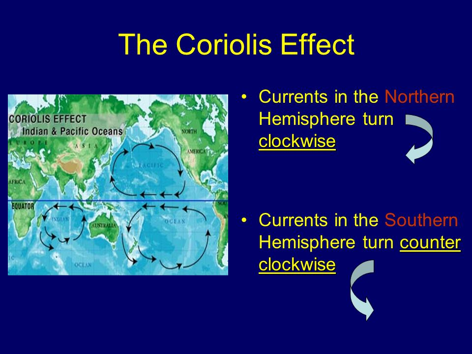 The Coriolis Effect Currents in the Northern Hemisphere turn clockwise