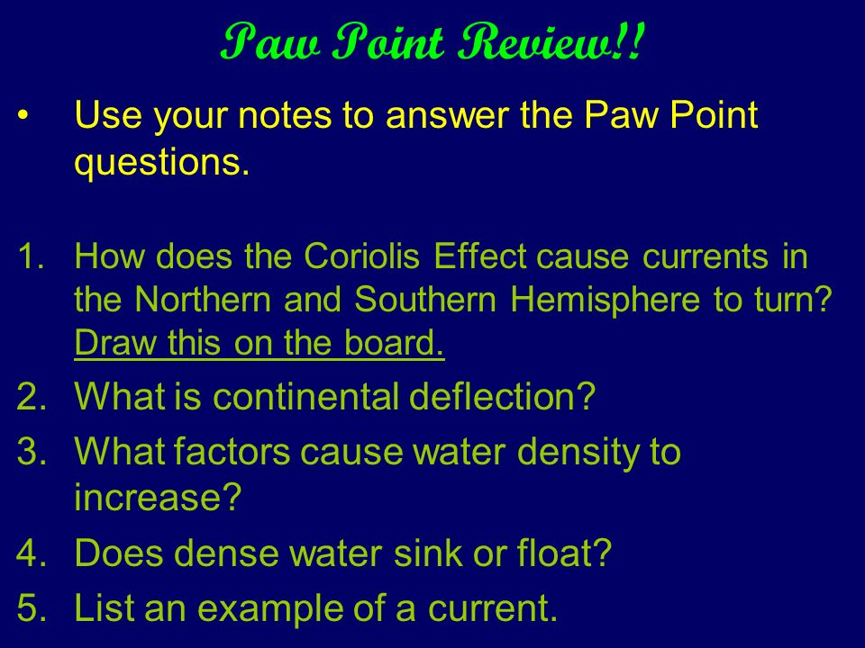Paw Point Review!! Use your notes to answer the Paw Point questions.