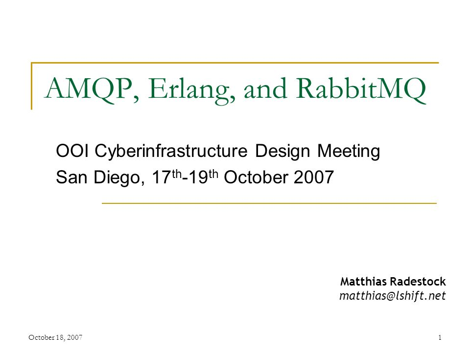 AMQP, Erlang, and RabbitMQ - ppt download