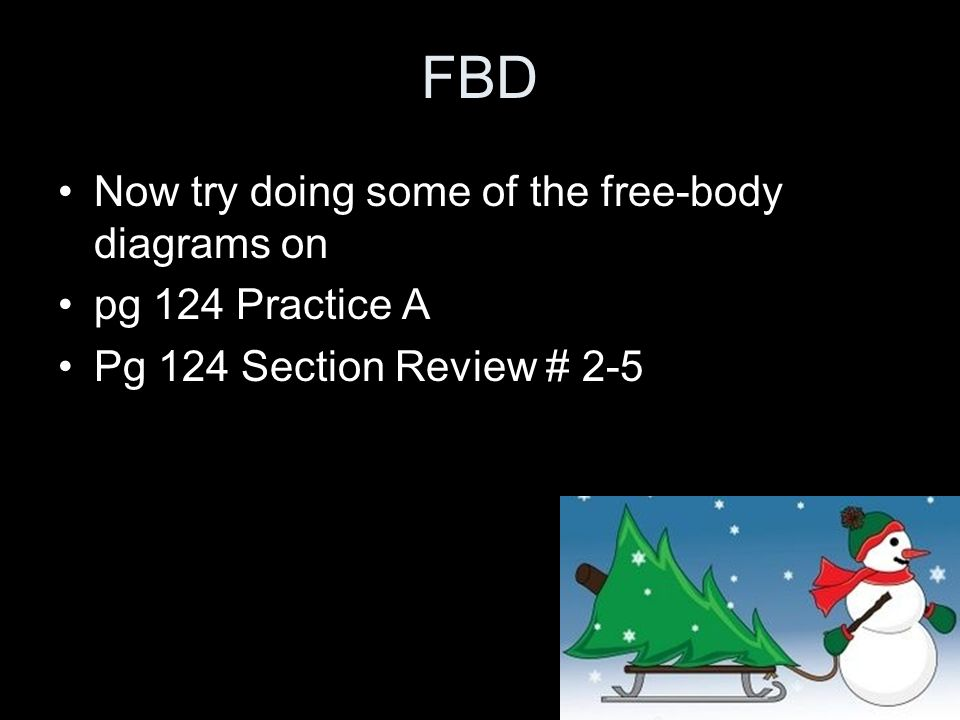 FBD Now try doing some of the free-body diagrams on pg 124 Practice A