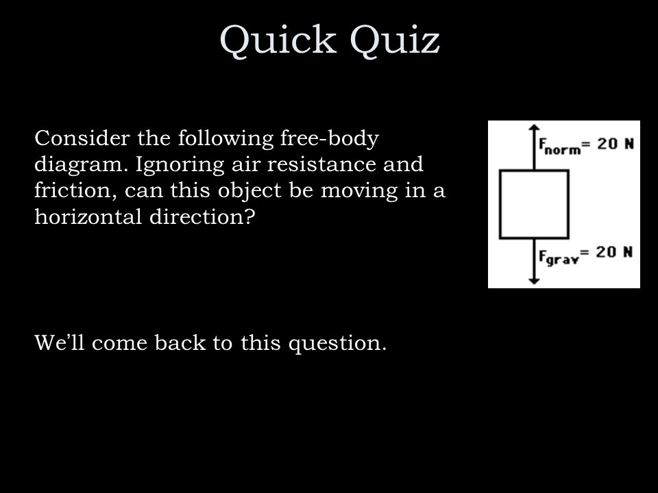 Quick Quiz Consider the following free-body diagram. Ignoring air resistance and friction, can this object be moving in a horizontal direction
