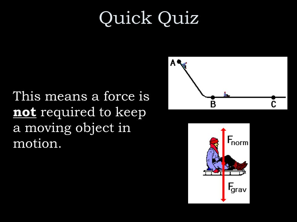 Quick Quiz This means a force is not required to keep a moving object in motion.