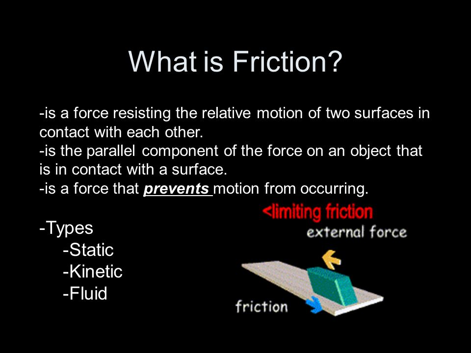 What is Friction Types Static Kinetic Fluid