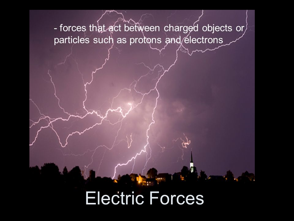 - forces that act between charged objects or particles such as protons and electrons