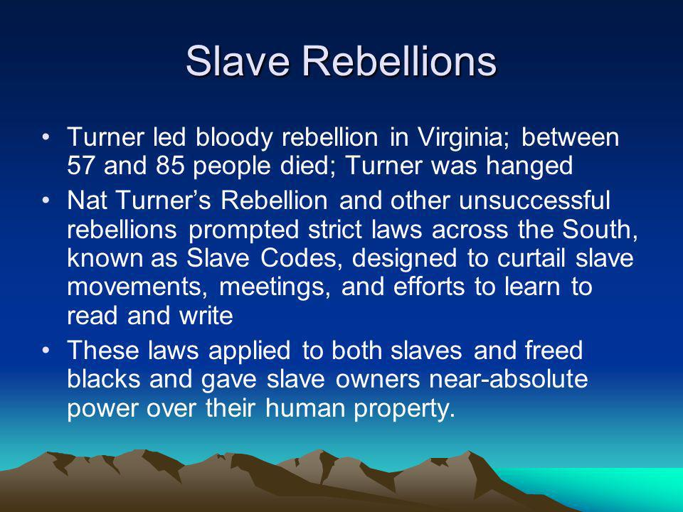 Slave Rebellions Turner led bloody rebellion in Virginia; between 57 and 85 people died; Turner was hanged.