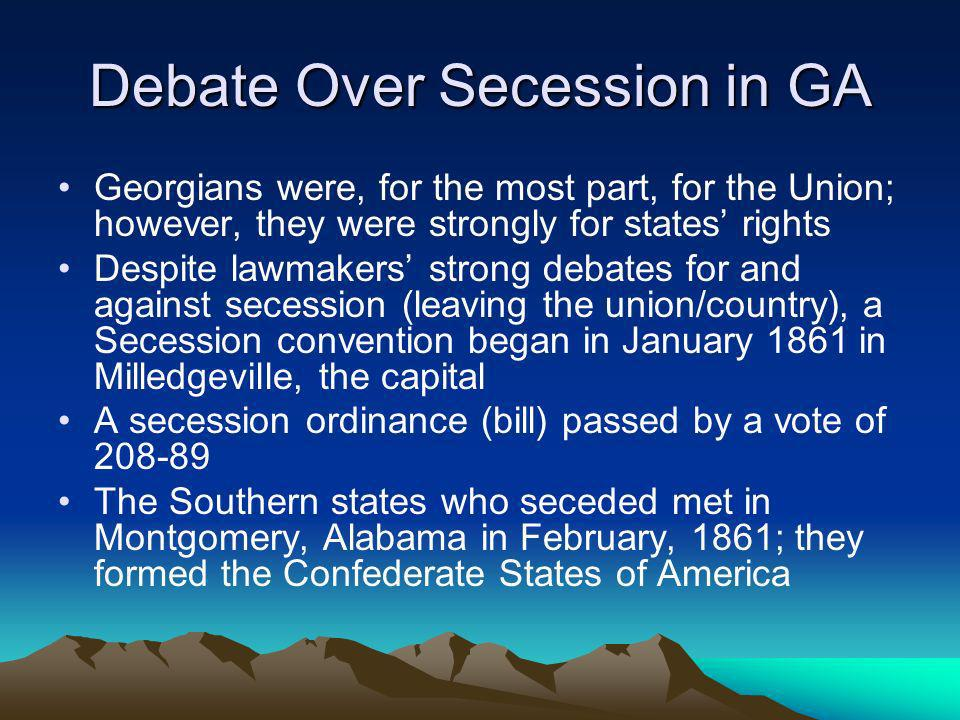 Debate Over Secession in GA