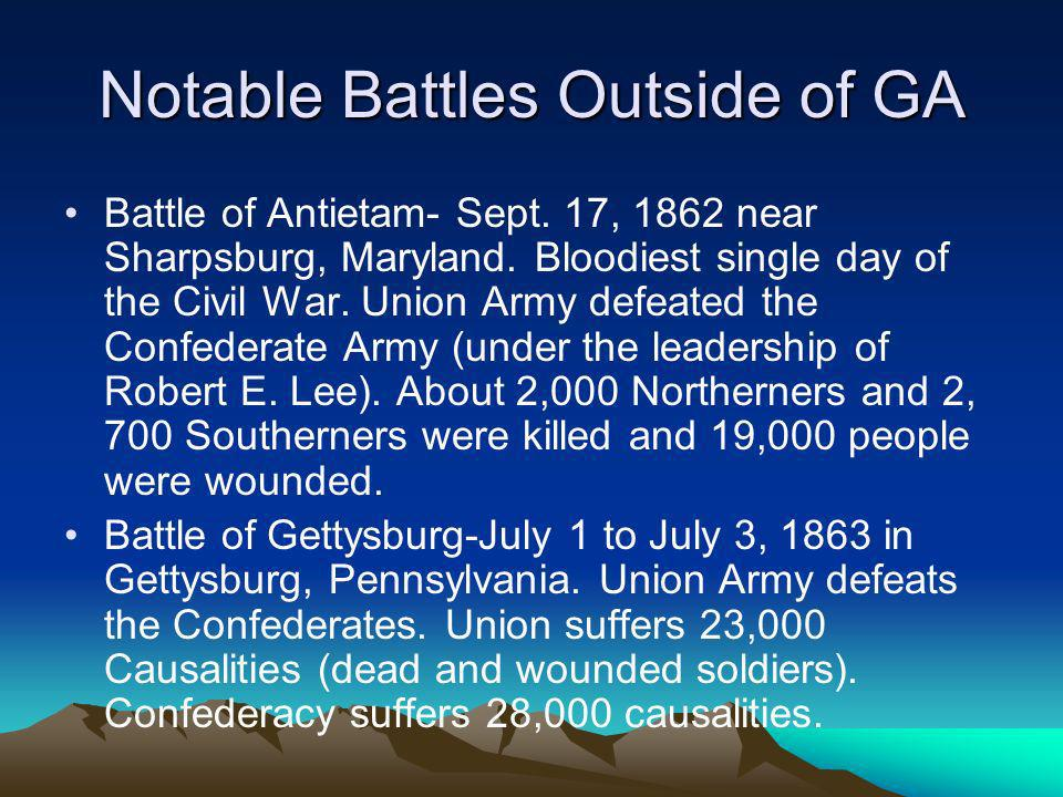Notable Battles Outside of GA