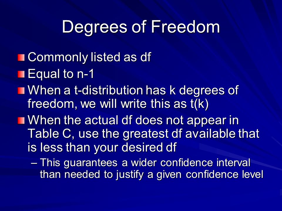 Degrees of Freedom Commonly listed as df Equal to n-1