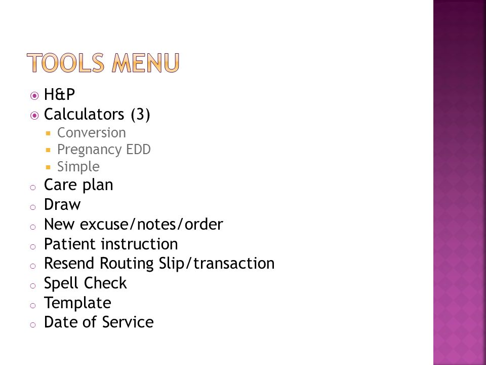 Tools Menu HP Calculators 3 Care Plan Draw New Excuse Notes Order