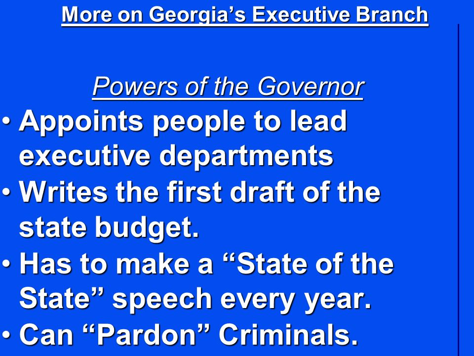 More on Georgia's Executive Branch