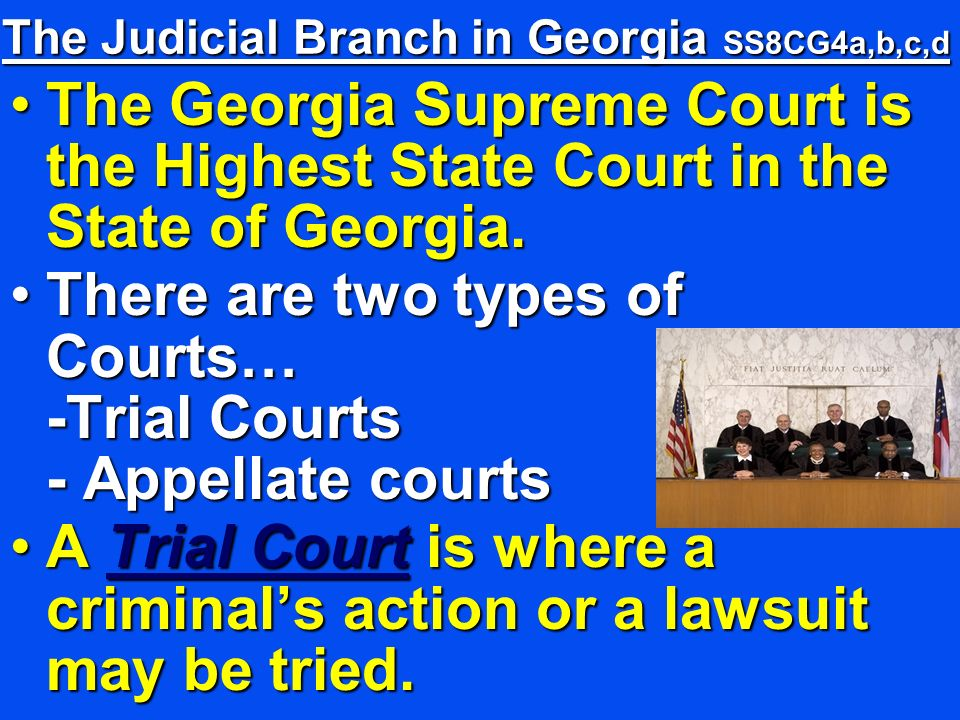 The Judicial Branch in Georgia SS8CG4a,b,c,d