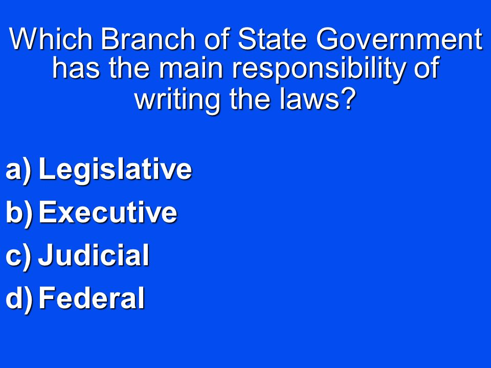 Which Branch of State Government has the main responsibility of writing the laws