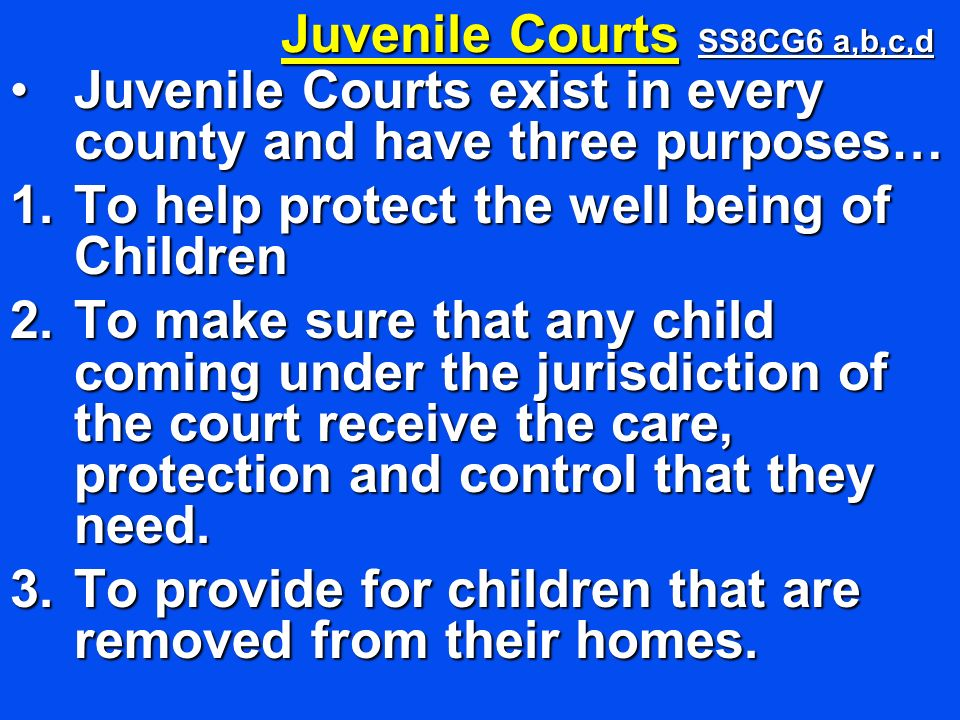 Juvenile Courts exist in every county and have three purposes…