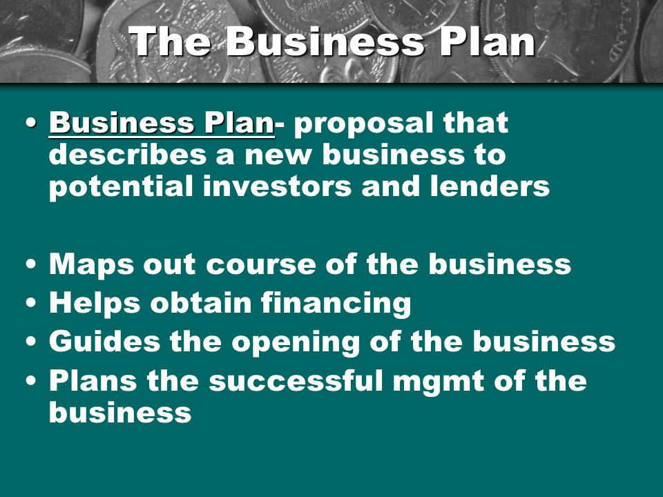 The Business Plan Business Plan- proposal that describes a new business to potential investors and lenders.