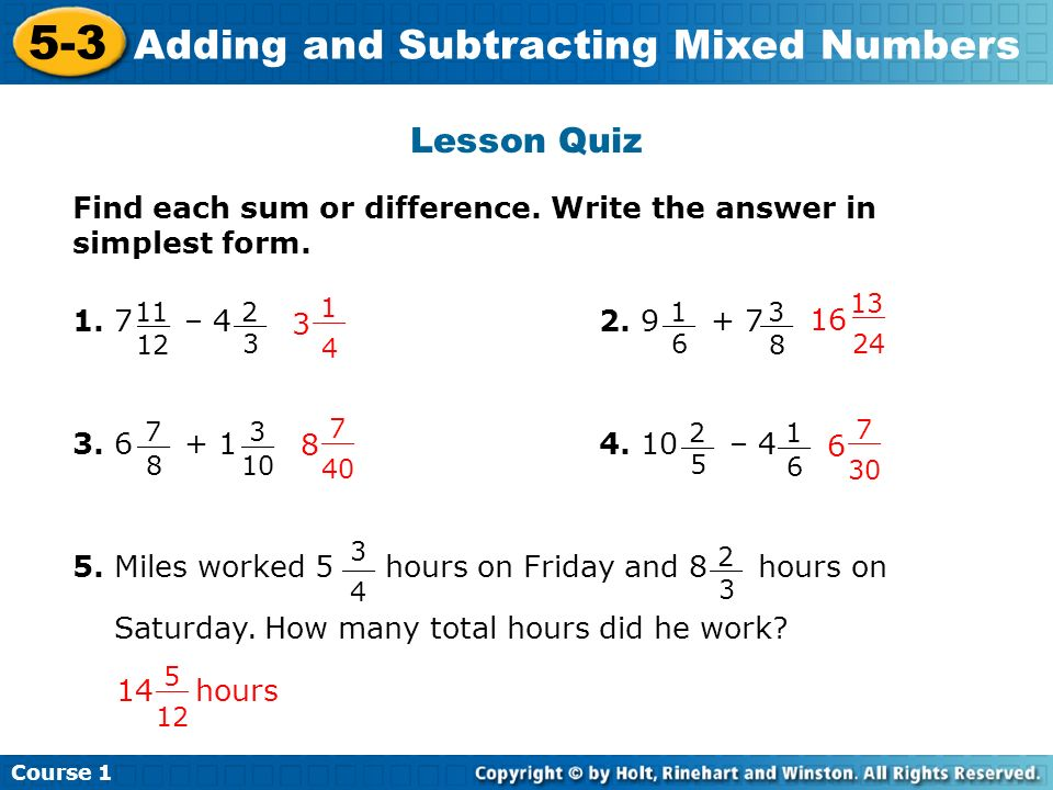 simplest form 3/6  8-8 Adding and Subtracting Mixed Numbers Warm Up Problem of ...